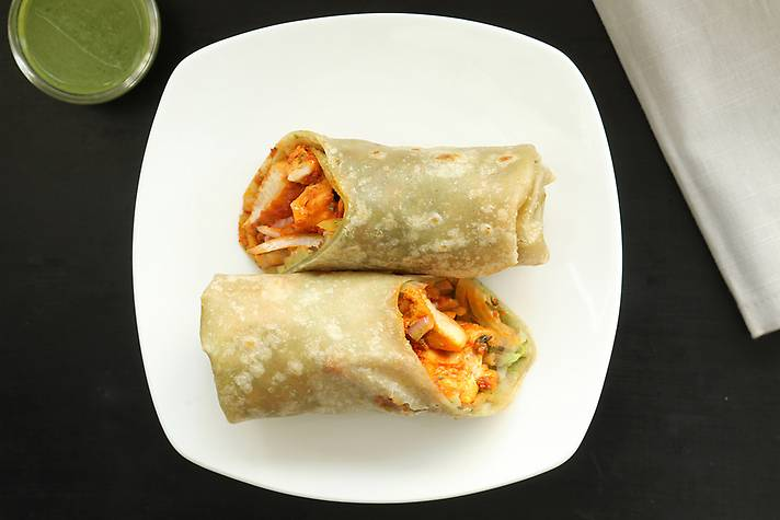 Chicken Tikka Wrap with Laccha Onion and Special In-House Mint Chutney